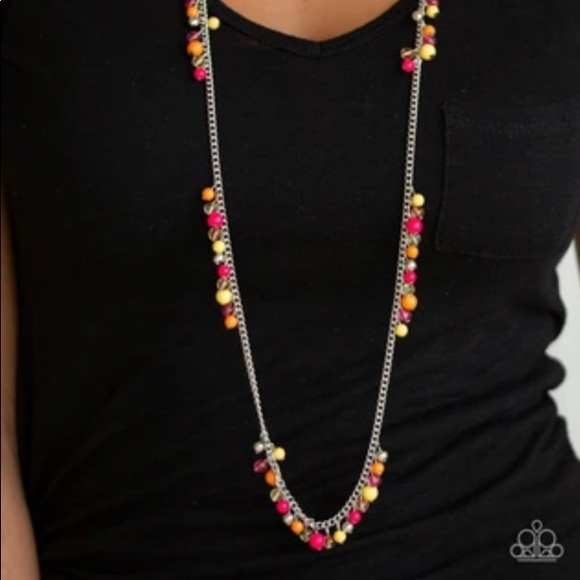 Pink Orange & Yellow Necklace Earrings NWT
